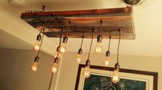 Edison bulb chandelier, table desk light kitchen, dinning lighting pendant barn wood/reclaimed wood, industrial chic, steam punk