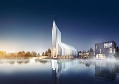 Cologne based architecture firm RSAA has proposed a design for a church and community center in Zhangjiagang, China. The design was to create a building that represents both past and future, and. Religious Architecture, Church Architecture, Sustainable Architecture, Sustainable Design, China Image, Modern Church, Architecture Visualization, Building Exterior, Kirchen
