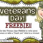 """FREE! Veterans Day is in November! Use this Veterans Day Freebie to have your students write about veterans or write a """"thank you"""" letter to a veteran. T..."""