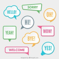 Modern speech bubbles with colored borders Free Vector