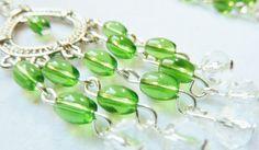 Silver Chandelier Teardrop Earrings with Green by SheSellsJewels, $15.00