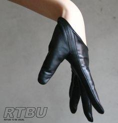 Genuine Lambskin Leather Fashion Runway Model Cut Away Punk Rocker Biker Glove