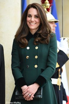 Catherine, Duchess of Cambridge poses prior a meeting with French President Francois Hollande at the Elysee Palace during day one of their visit on March 17, 2017 in Paris, France on March 17, 2017 in Paris, France. The Duke and Duchess are on a two day tour of France.