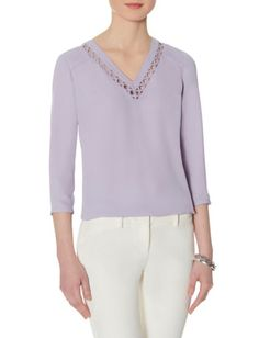 Lattice Neckline Blouse from THELIMITED.com