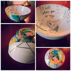 The Broken Bowl Projecthttp://christabrennan.wordpress.com/2013/03/08/the-broken-bowl-project/ --he bowl represents us as an individual, we are vessels that hold many things. But sometimes we break and need to be put back together. Our brokenness changes us, makes us who we are. And so the painting on the outside of the bowl represents who we are on the outside, and the words on the inside of the bowl express all the hidden components that make us us.