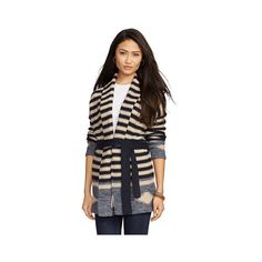 Ralph Lauren Lauren Jeans Co. Striped Cotton-Linen Cardigan ($175) ❤ liked on Polyvore featuring tops, cardigans, stripe cardigan, drape cardigan, drapey cardigan, striped open front cardigan and shawl collar cardigan