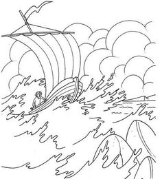 jesus calms the storm coloring page  Children Crafts and Games