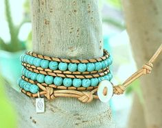 Items similar to Leather wrap bracelet, turquoise beads, Made to Order, personalized tag, sterling silver button on Etsy
