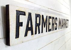 FARMERS MARKET Sign Horizontal - Carved in a Cypress Board, Rustic Distressed Shop Advertisement Farmhouse Style Wooden Wood Garden Gift Produce Vegetable Tomatoes