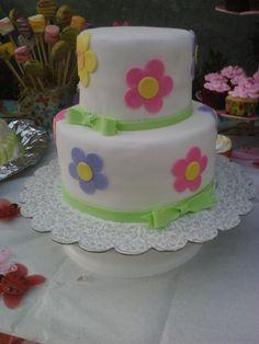 Childrens Birthday Cakes - Spring, flower and bows birthday cake (: