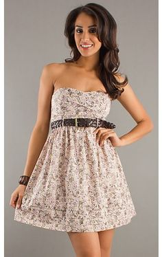 Belted Strapless Print Dress CT-9628-A808