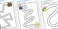 The Three Little Pigs Pencil Control Path Worksheets - pencil