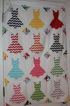 Chevron Dresses Hand Appliqued Quilt Top by MountainBottomQuilts, $50.00