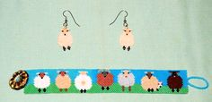 Sheep Bracelet Pattern ___ by dcruey - on Etsy ___ Kawaii cute, awesome, hoot, whimsical, midnight ___ Peyote Stitch *or* Brick Stitch
