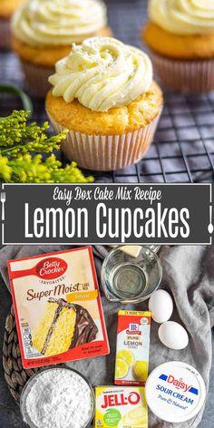 Moist Cupcake Recipes, Recipes Using Cake Mix, Box Cake Recipes, Lemon Dessert Recipes, Cupcake Flavors, Lemon Recipes, Pudding Cake Mix, Pudding Cupcakes, Lemon Pudding Cake