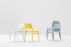 Take stackable chair, in spring colors. www.billiani.it