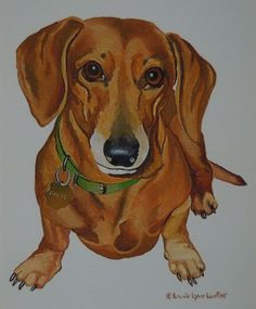Second Hand Dog Supplies Refferal: 5618315361 Arte Dachshund, Dachshund Puppies, Weenie Dogs, Dachshund Love, Dogs And Puppies, Daschund, Dog Paintings, Scottish Terrier, Cutest Animals