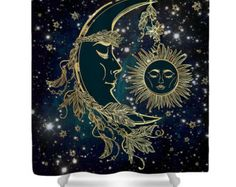 Nebula Shower Curtain Awesome Space and Water by FolkandFunky