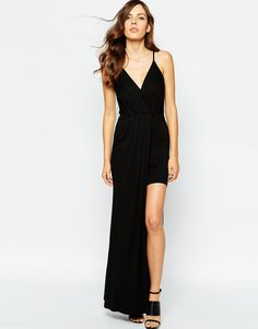 BCBG Generation Cross Front Maxi Dress In Jersey - Hi-lo skirt, cami front