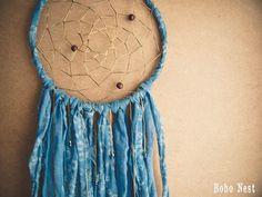 Large Dream Catcher - Blue Flowers - With Unique Vintage Floral Textiles and Suncatcher Crystals - Boho Home Decor, Nursery Mobile #dream #catcher #boho #home #decor #nest