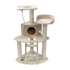 Features:  -Covered in faux fur.  -Sisal rope wrapped posts.  -Tools provided for simple set-up.  -Use a vacuum and damp cloth for easy cleaning.  Color: -Tan. Dimensions:  Overall Height - Top to Bot