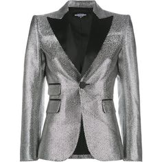 Dsquared2 tailored fitted blazer ($2,495) ❤ liked on Polyvore featuring outerwear, jackets, blazers, metallic, long sleeve jacket, blazer jacket, tailored blazer, metallic jackets and metallic blazer