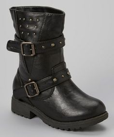 Look what I found on #zulily! Black Chase Studded Motorcycle Boot by Carrie #zulilyfinds