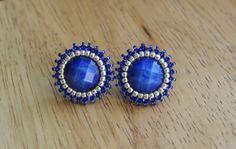 Blue Sapphire Silver Earrings Stud Small Cute by BetweenBeads