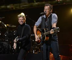 """Bruce Springsteen joined Bon Jovi to sing """"Who Says You Can't Go Home"""" at the """"12-12-12"""" concert to aid the victims of Hurricane Sandy"""