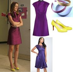 On Blair: Victoria Beckham Briseux Dress, Paige Gamble Stingray Headband, Christian Louboutin Neon Pumps.