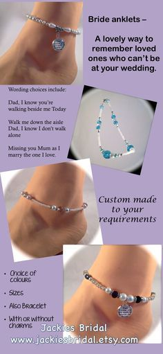 """Lovely way to remember loved ones who can't be at your wedding - choices of wording on charms include """"Dad, I know you're walking beside me Today"""" by Jackies Bridal  <a href=""""https://www.etsy.com/au/listing/252346686/bride-anklet-dad-remember-memorial-for?ref=shop_home_active_6"""" rel=""""nofollow"""" target=""""_blank"""">www.etsy.com/...</a>"""