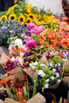 Support the local venders by buying your flowers from the farmers market. Not only will you find great deals on flower arrangements, but you can  also buy fresh produce for the reception. Be sure to ask the farmers for deals!