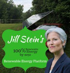 The Jill Stein Renewable Energy platform will provide 100% renewable energy by 2030