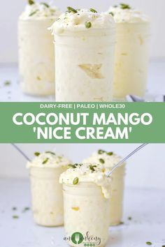Coconut Mango 'Nice Cream' is a light and fluffy ice cream that's made with just 3 ingredients.  Enjoy this dairy-free dessert year round!  The sweet taste of coconut and mango mix together to make the perfect dessert.  Ana Ankeny - Healthy Recipes Dairy Free Treats, Dairy Free Recipes, Vegan Recipes Easy, Sweet Recipes, Amazing Recipes, Gluten Free, Köstliche Desserts, Frozen Desserts, Healthy Dessert Recipes