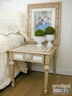 Vintage Table Made New with Metallic Paint and Harlequin Design by Prodigal Pieces | www.prodigalpieces.com #decoartprojects #madewithmichaels