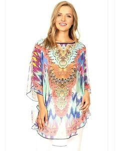 54a6d8004be Modern Kiwi Courtney Multicolor Chiffon Caftan Poncho Tunic Top  A  beautiful print with lively colors comes to life in our Courtney Multicolor  Chiffon ...