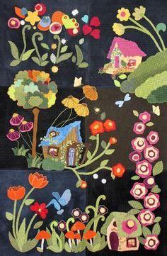 Block of the Month-My Blue Heaven Wool Applique – Trish Stuart Designs Motifs Applique Laine, Wool Applique Quilts, Wool Applique Patterns, Wool Quilts, Applique Design, Wool Embroidery, Machine Embroidery Applique, Felt Applique, Embroidery Patterns