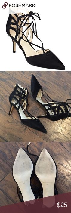 Marc Fisher Truthe Heels in Black Black Lace Up Heels. Gold hardware on end of laces. EUC Marc Fisher Shoes Heels