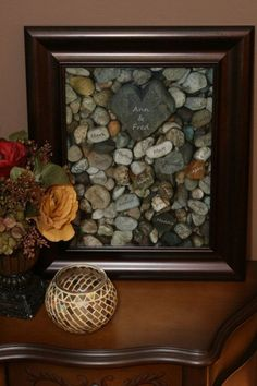 Family tree. It's an twist on a traditional family tree and makes a great Thanksgiving gift. After you have writed your parents'name on the heart shaped rock, write your siblings' and your own name on small rocks.