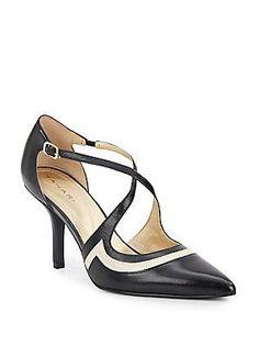 Tahari Britta Strappy Leather Pumps - Black - Vanilla - Size 8.5