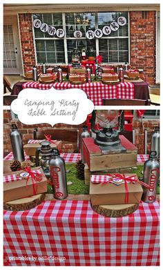 Nellie Design: Camping Party.  Cute table setting.  I'm so interested in the personalized water bottles.