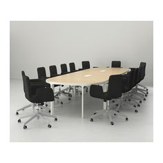 BEKANT Conference table - birch veneer/white - IKEA