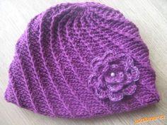 HÁČKOVÁNÍ - Čepice ze šikmých reliefních sloupků + návod na kytičku Crochet Gloves, Crochet Baby Hats, Knitted Hats, Fair Isle Pattern, Art Plastique, Headbands, Tatting, Knitting Patterns, Crafty