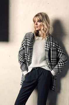 Chunky sweater and glen check