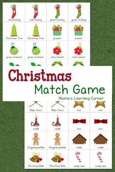 Free Printable Christmas Match Game for your young learner!  Ideas for use with Preschool, Kindergarten, and  First Grade!