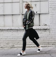WHITE + WARREN | Happily Grey. Black sweater+black leather pants+whtie and balck sneakers+olive green and black bomber jacket. Winter To Spring Casual Outfit 2017