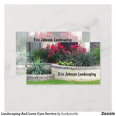 Landscaping And Lawn Care Service Business Card | Zazzle.com | 1000 - Modern | 1000 Landscaping Images, Modern Landscaping, Yard Service, Mowing Services, Lawn Care Business Cards, Eric Johnson, Landscape, Cookies, Crack Crackers