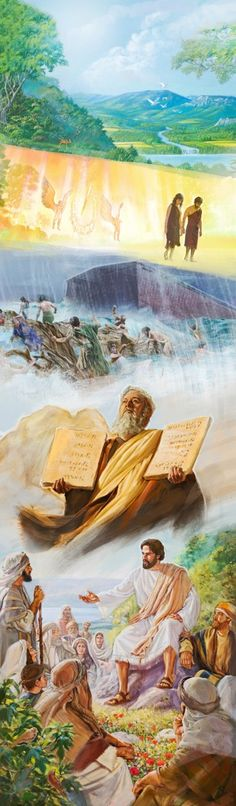 Scenes of original Paradise, Paradise lost, the Flood of Noah's day, Moses with the 10 Commandments, and Jesus teaching.