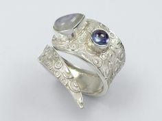 Sterling silver adjustable rainbow moonstone tanzanite ring