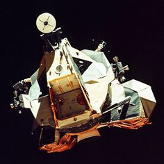 This picture, taken from the command module America, shows Apollo 17's lunar module Challenger's ascent stage in lunar orbit. Small reaction control thrusters are at the sides of the moonship with the bell of the ascent rocket engine itself underneath. The hatch allowing access to the lunar surface is visible in the front and a round radar antenna appears at the top.